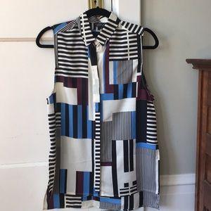 Top shop multi color collar blouse